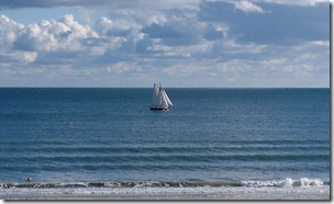 Sailing ship off Bournemouth Beach