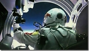 Baumgartner prepares to leave the capsule
