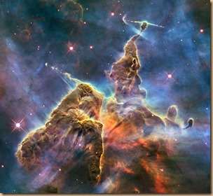 This Hubble photo is of a small portion of one of the largest seen star-birth regions in the galaxy, the Carina Nebula.